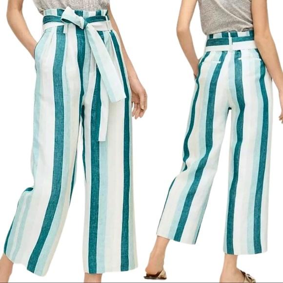 J.Crew Paper Bag Waist Linen Pants Cabana Stripe